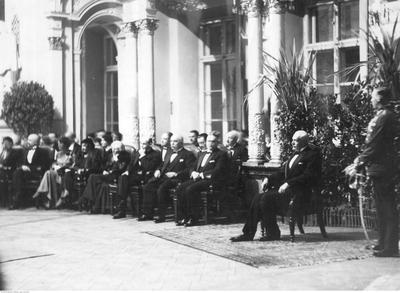 Pres. Ignacy Mościcki of Poland, at <i>Daniel</i> by Stanisław Wyspiański, Irena Solska's company, 6 Dec. 1932. Photographer unknown / collections of the National Digital Archives.