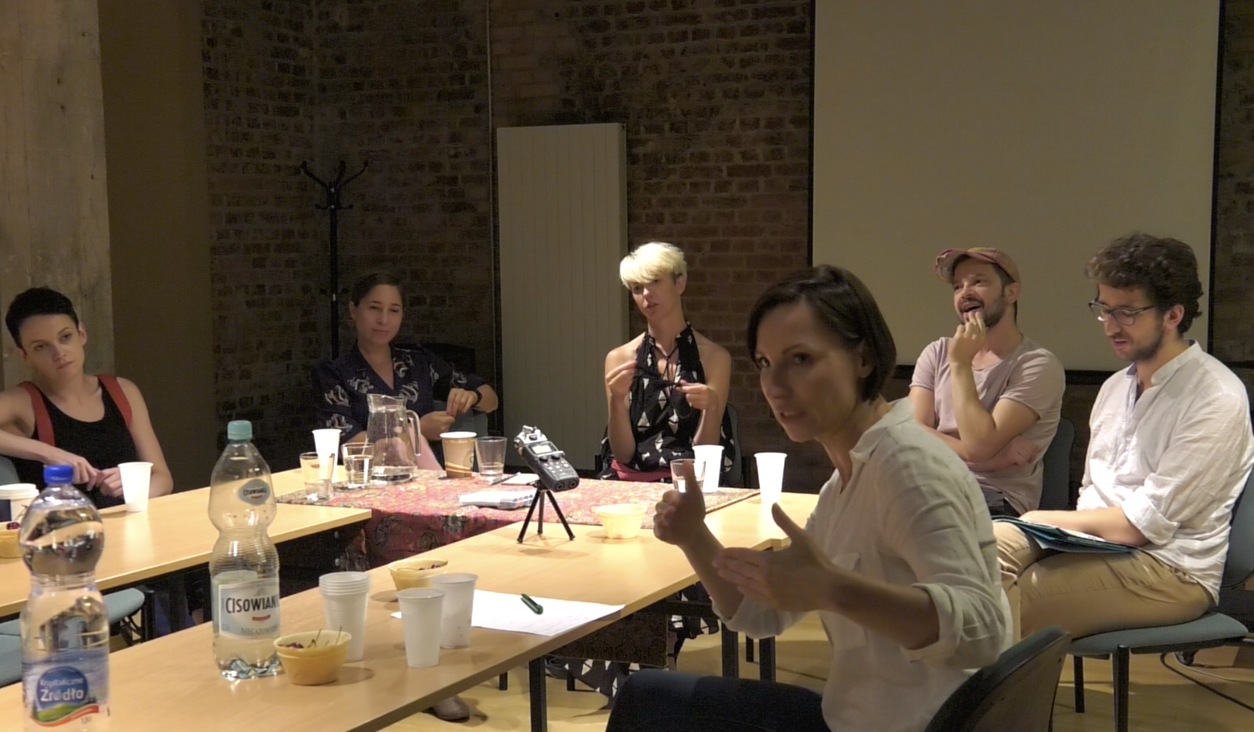 From left: J. Michalik, A. Smolar, J. Sobczyk, M. Borczuch, S. Godlewski, A. Siwiak, 'Theatre, Artistic and Research Collectives' conference, Adam Mickiewicz University in Poznań, 19 June 2018. Photo from the recording by Anna Paprzycka.