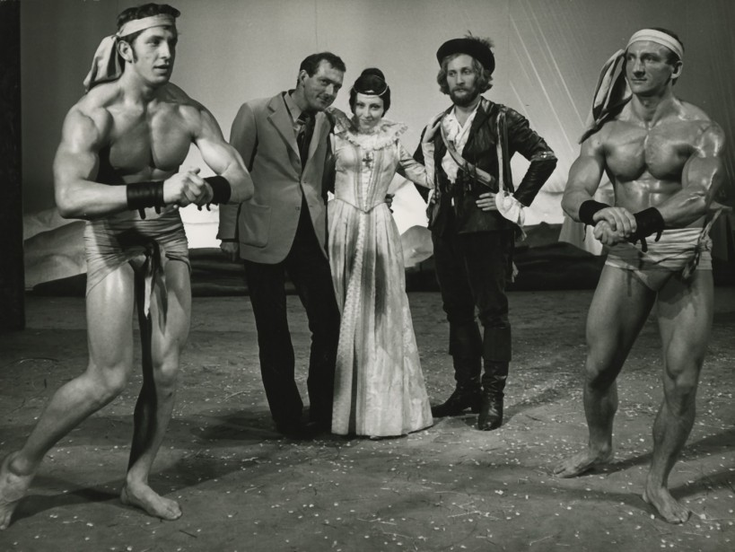 Konrad Swinarski, Anna Polony and Wojciech Pszoniak during rehearsals for the <i>Wszystko dobre, co się dobrze kończy</i> [<i>All's Well That Ends Well</i>] 1971, Stary Theatre in Kraków, photo: Wojciech Plewiński