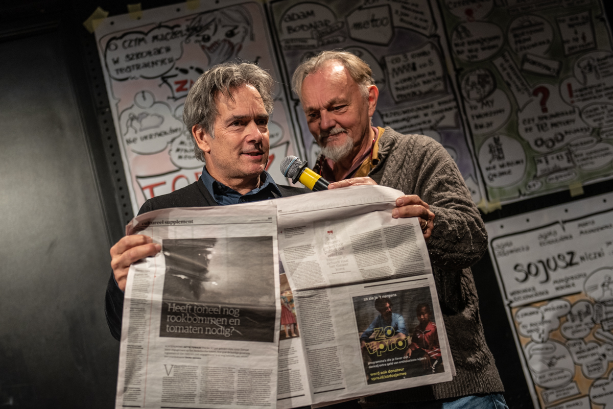 From the left: Henk Havens and Bert Luppes during the 'Change - now!' conference, Teatr Ochoty, Warsaw, 8 October 2019, photo: Marta Ankiersztejn