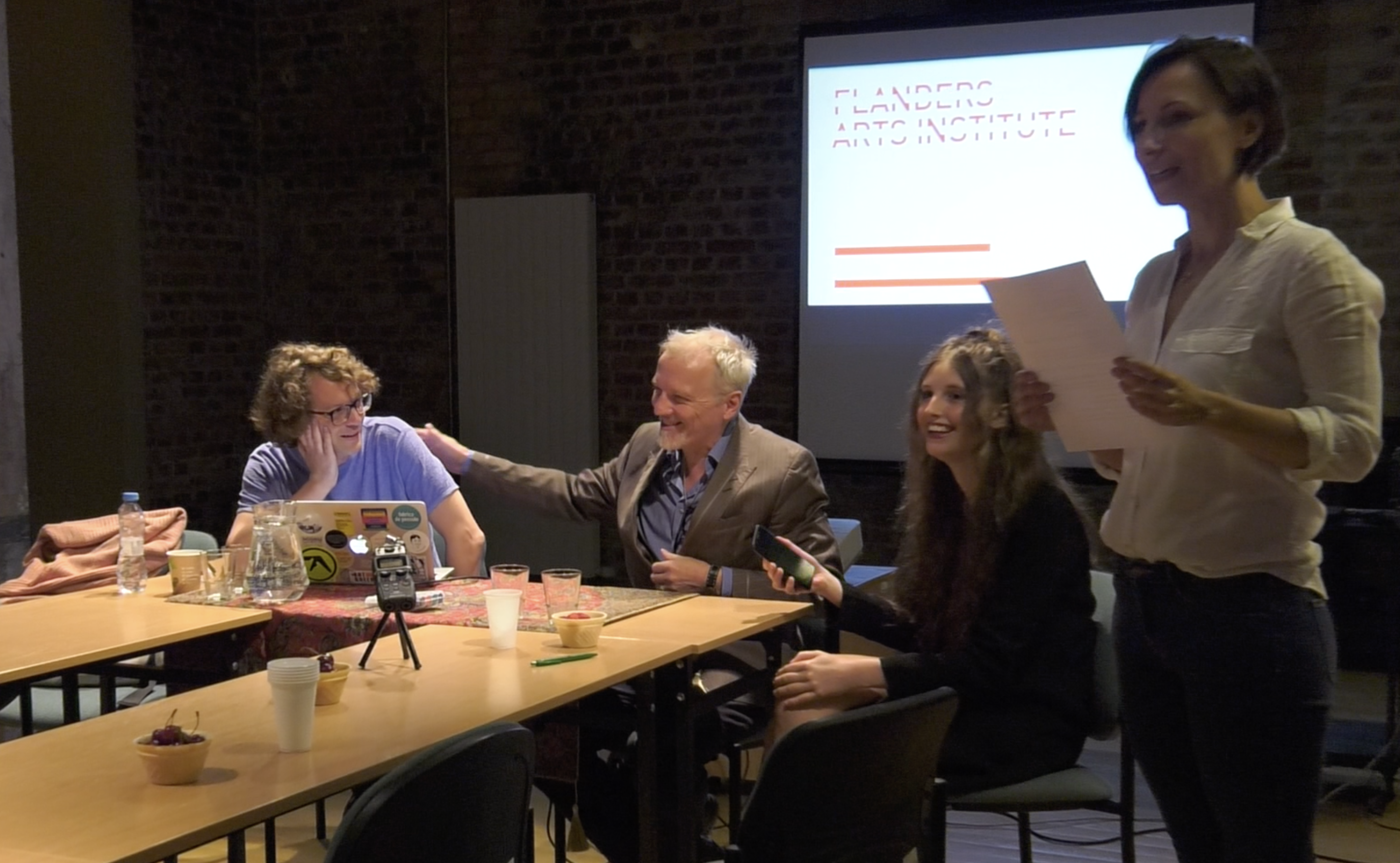 From left: Joris Janssens, Jan Lauwers, Lisaboa Houbrechts, Agata Siwiak, 'Theatre, Artistic and Research Collectives' conference, Adam Mickiewicz University in Poznań, 19 June 2018. Photo from the recording by Anna Paprzycka.
