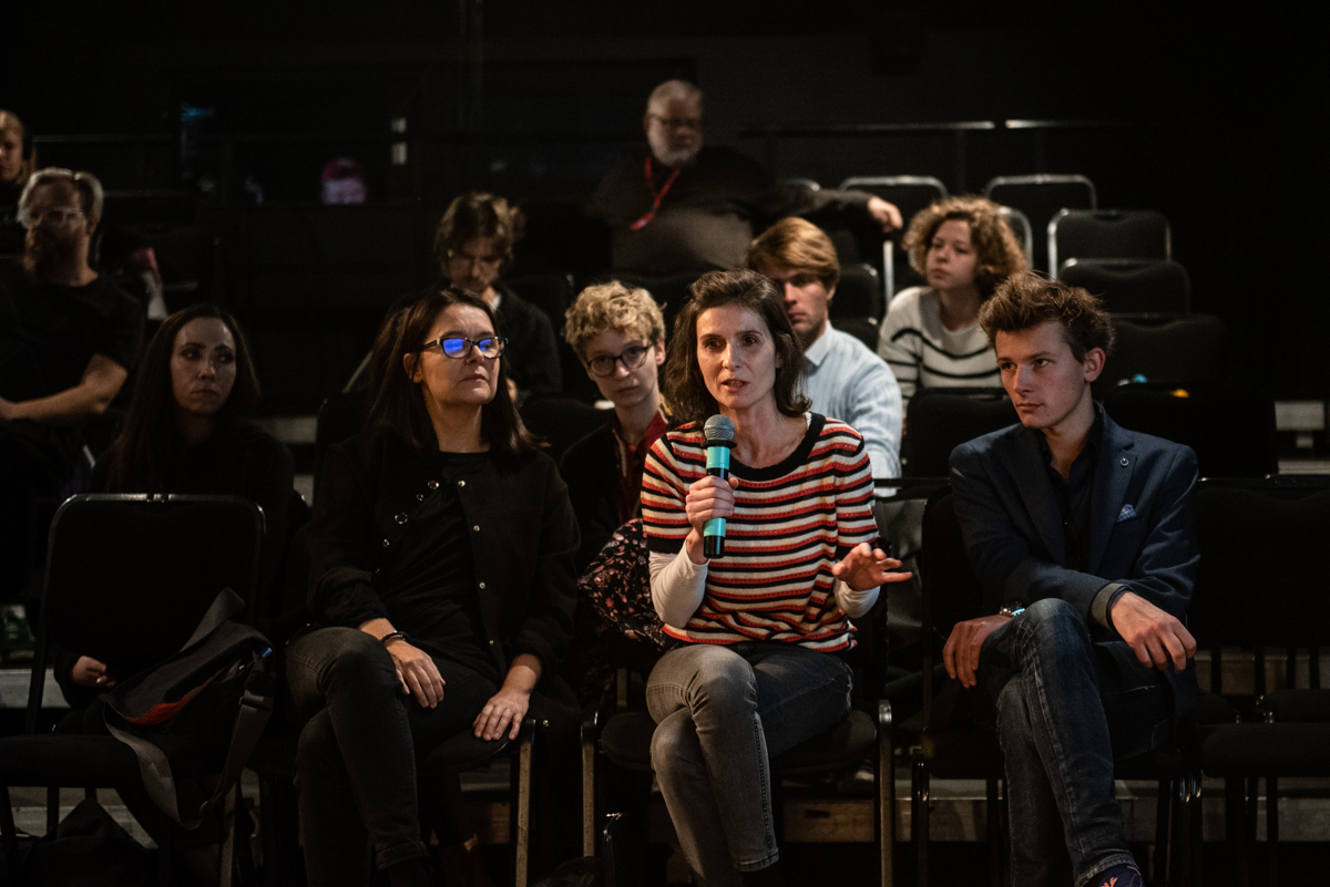 In the first row from the left: Iwona Kempa, Iga Gańczarczyk and Michał Telega during the 'Change - now!' conference, Teatr Ochoty, Warsaw, 8 October 2019, photo: Marta Ankiersztejn